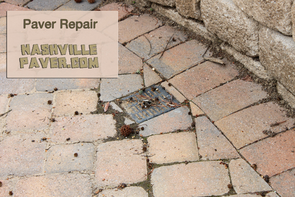 Nashville Paver Repair, Paver Patio Repair, Paver Cleaning, Paver Resanding, Paver drain filled with sand image.