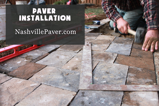 Nashville Paver Patio, Image of pavers being installed.